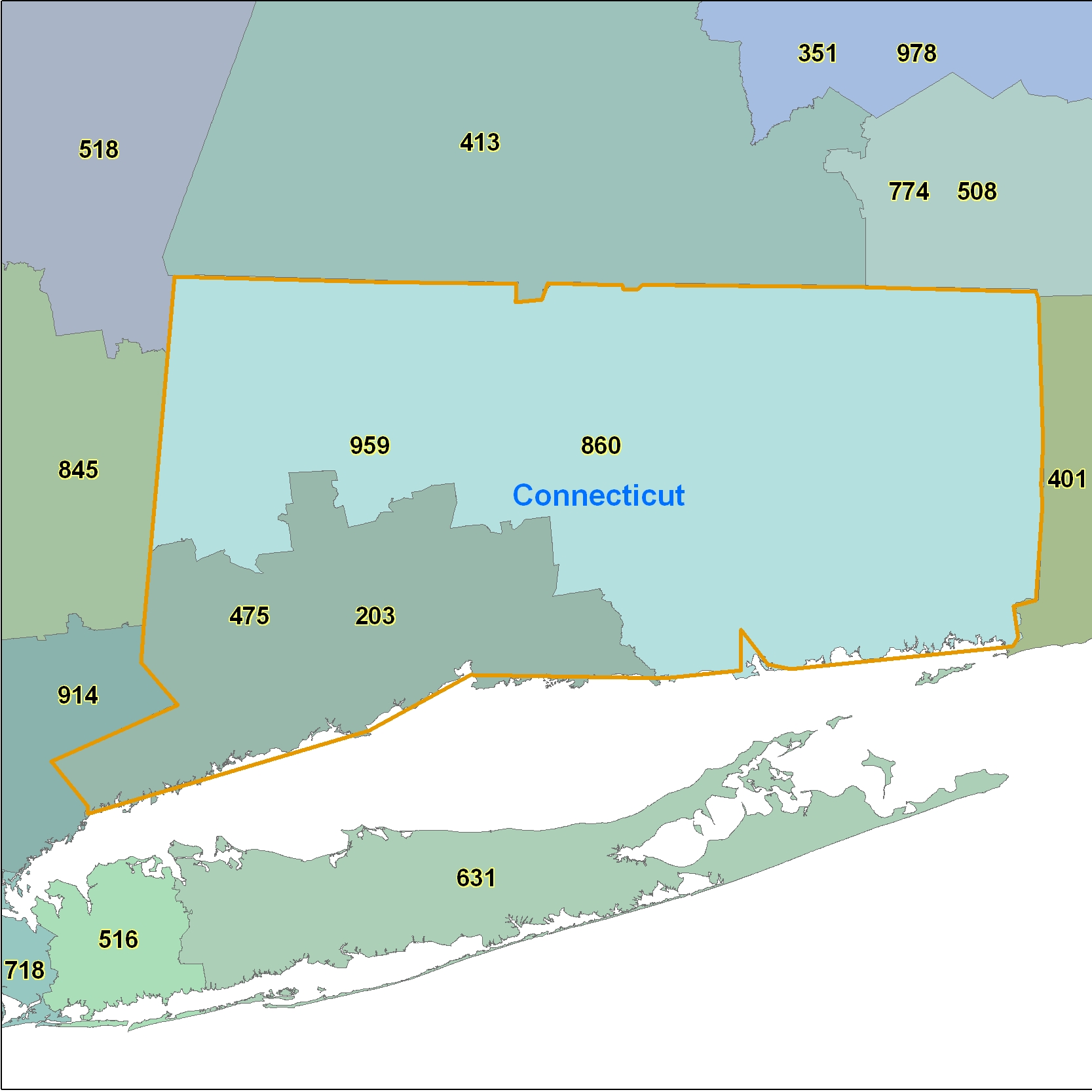 Connecticut (CT) Area Code Map