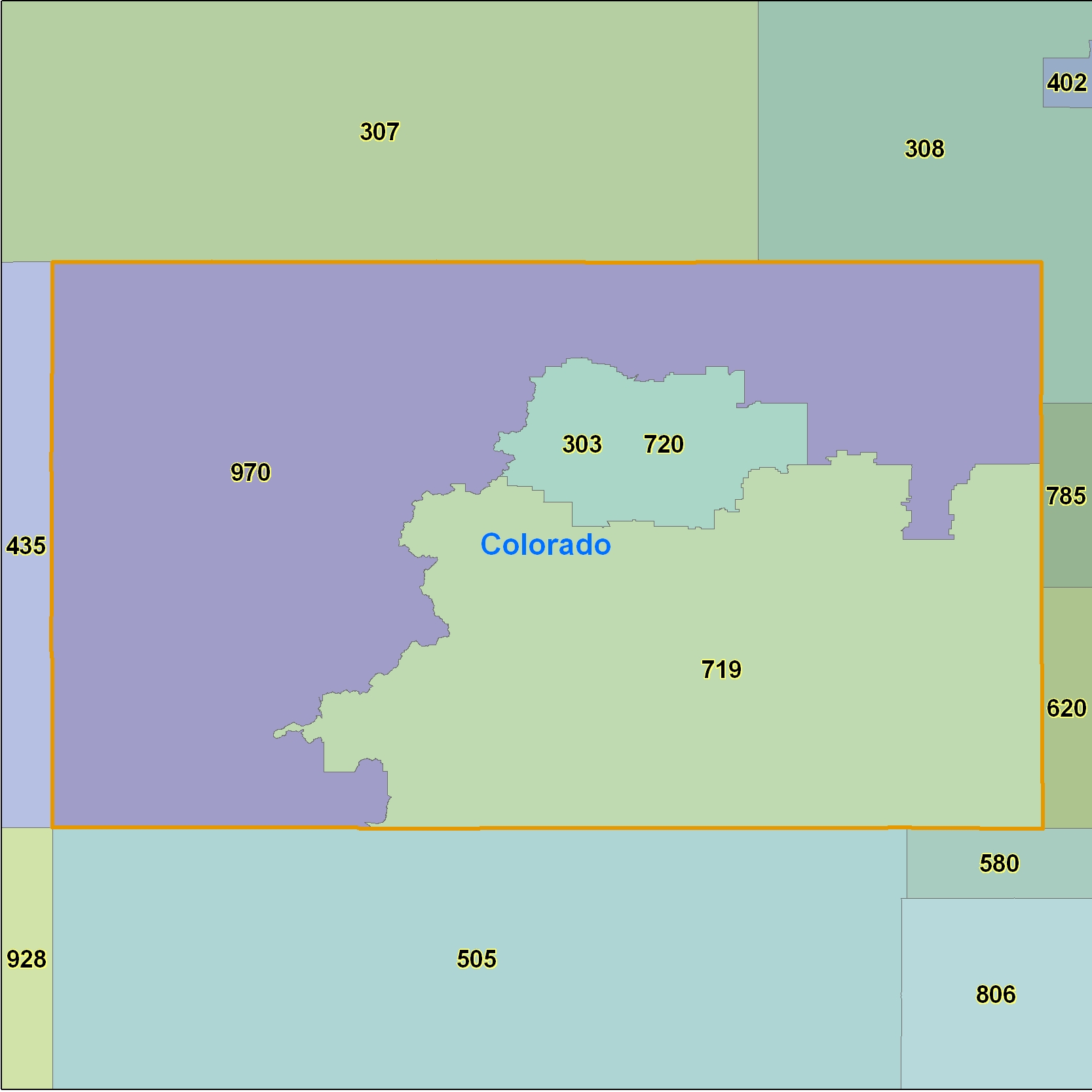 Colorado (CO) Area Code Map