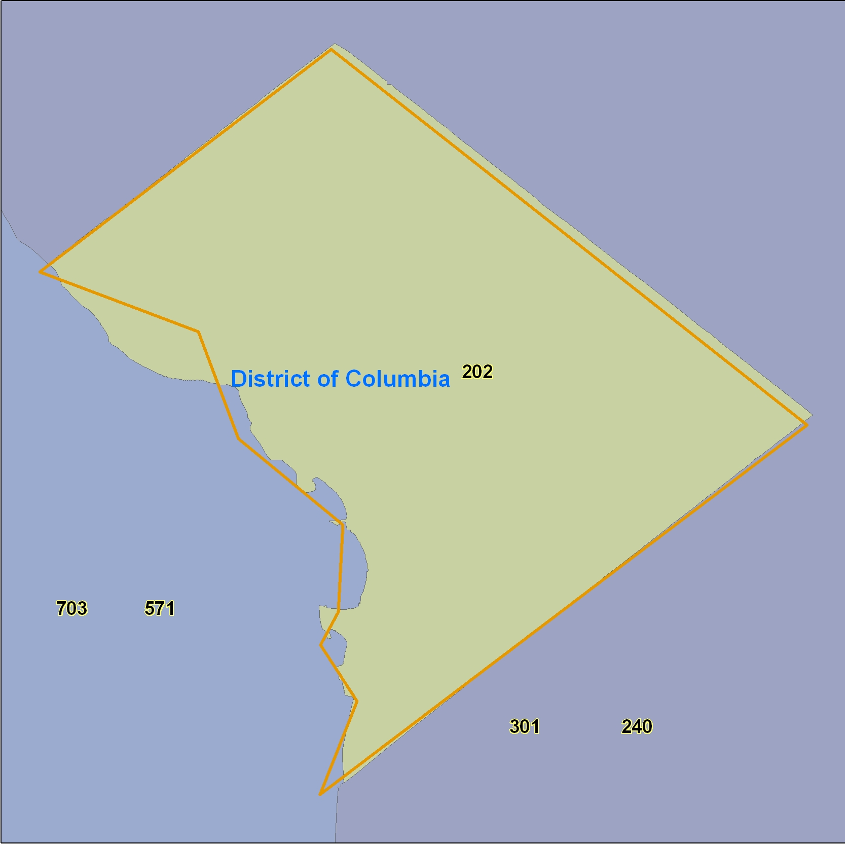 District of Columbia (DC) Area Code Map