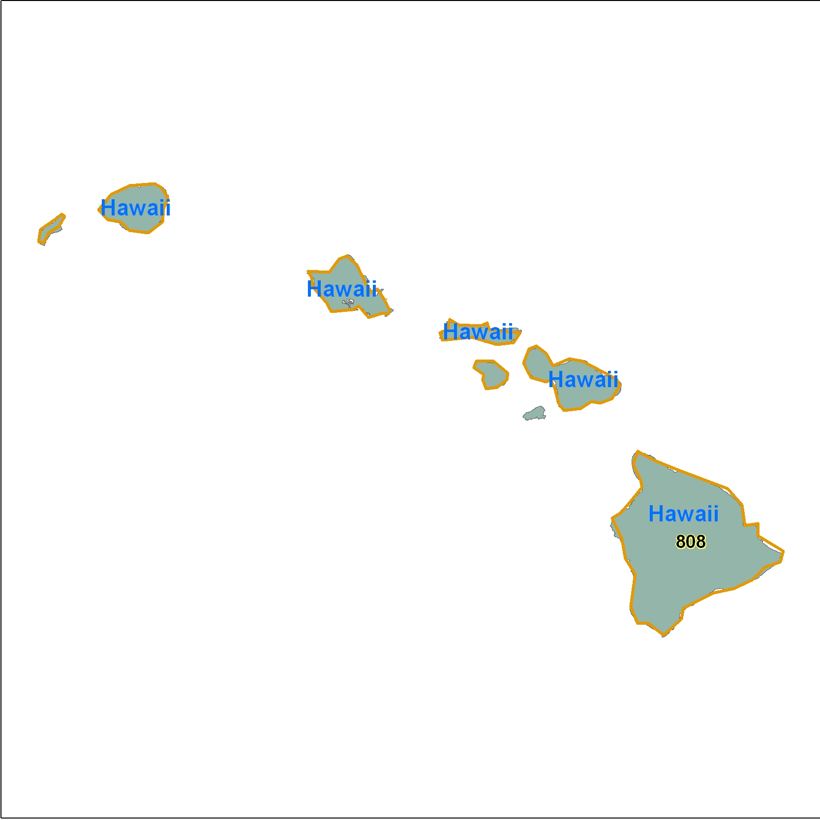 Hawaii (HI) Area Code Map