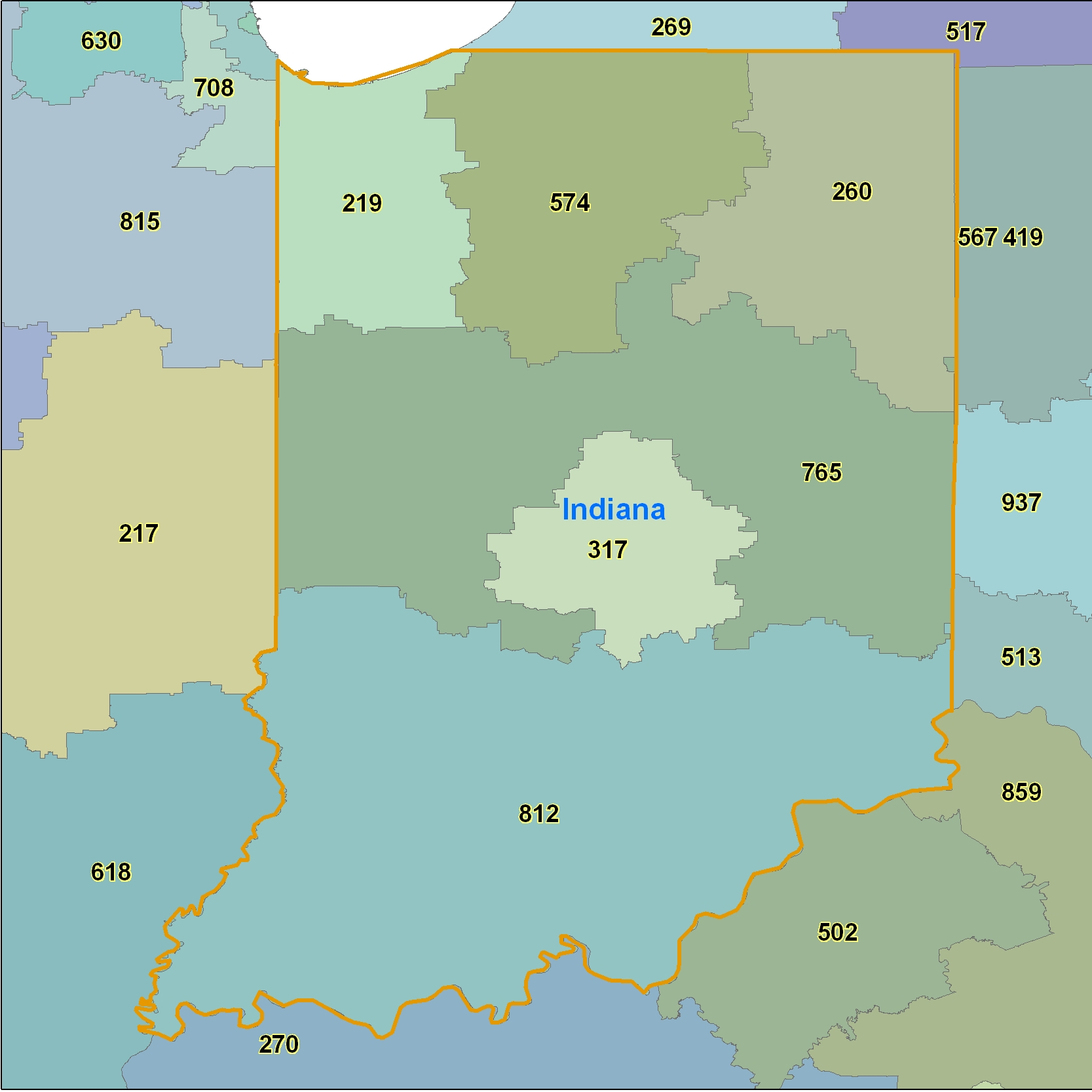 Indiana Area Code Maps Indiana Telephone Area Code Maps