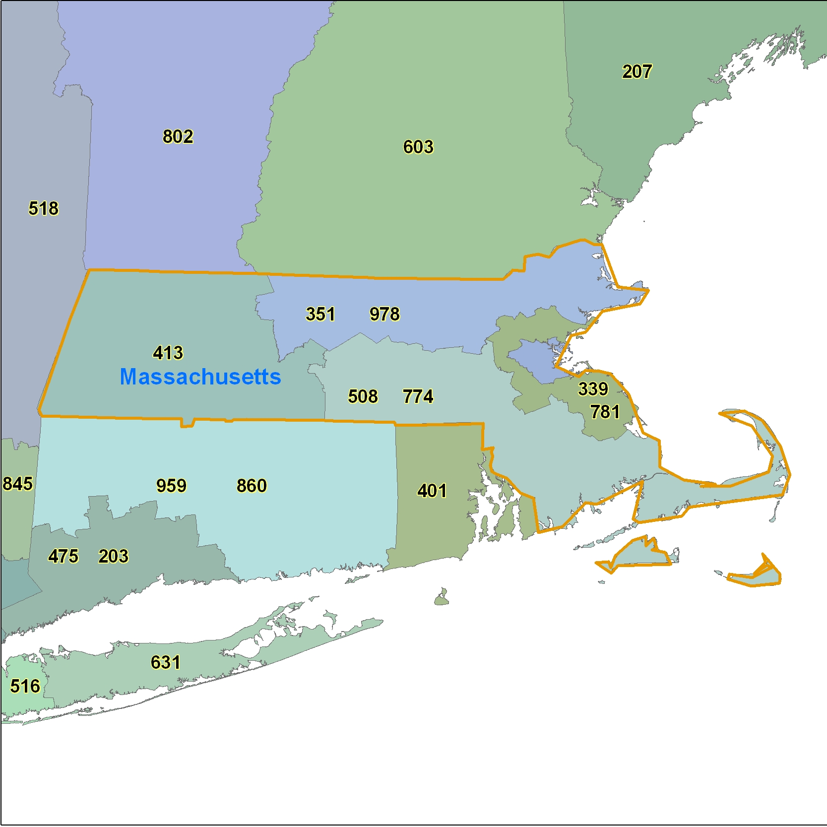 Massachusetts (MA) Area Code Map
