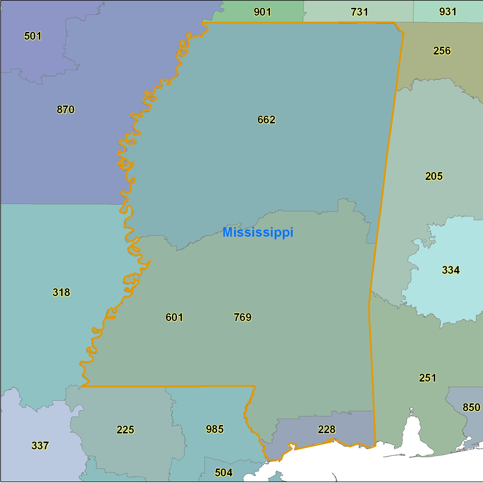 Mississippi (MS) Area Code Map