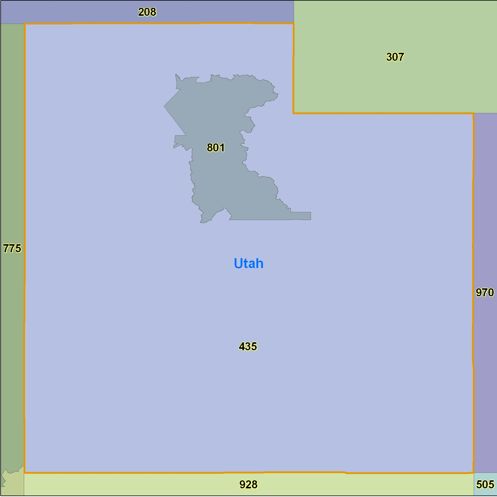 Utah (UT) Area Code Map