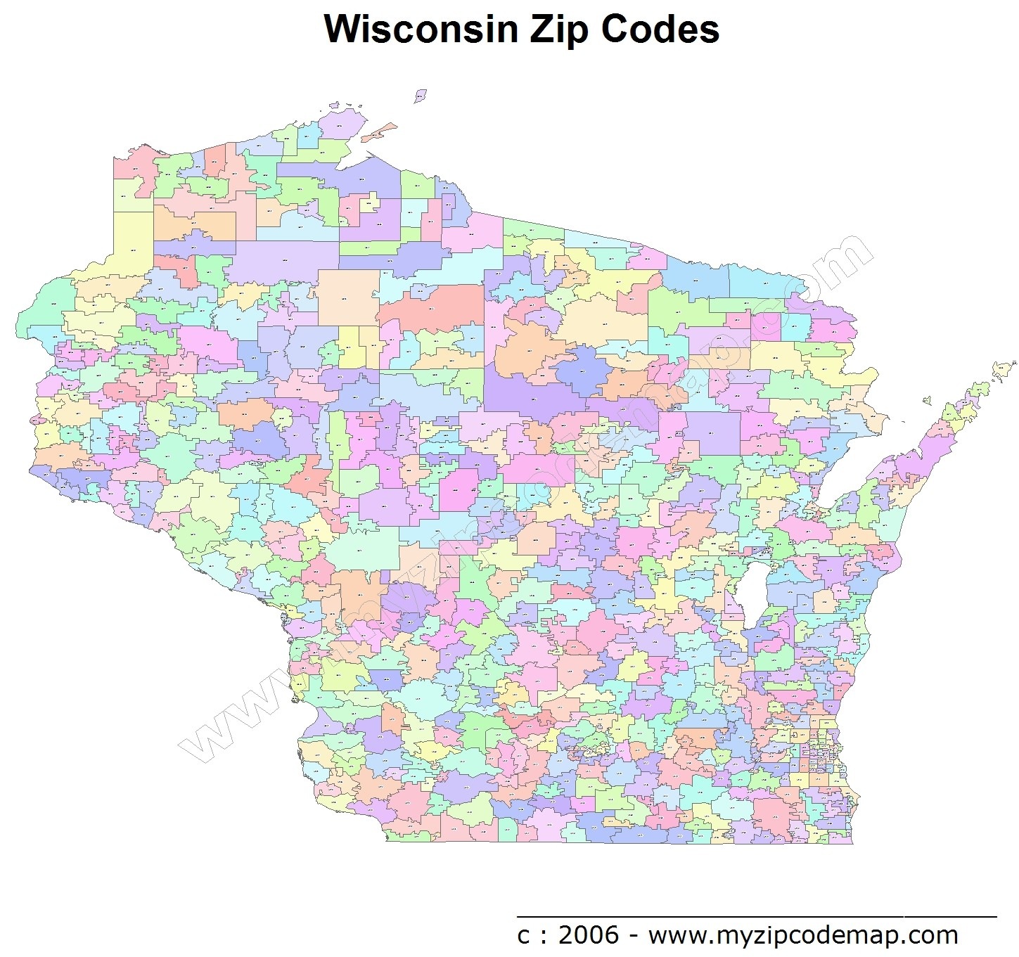 Wisconsin (WI) Zip Code Map