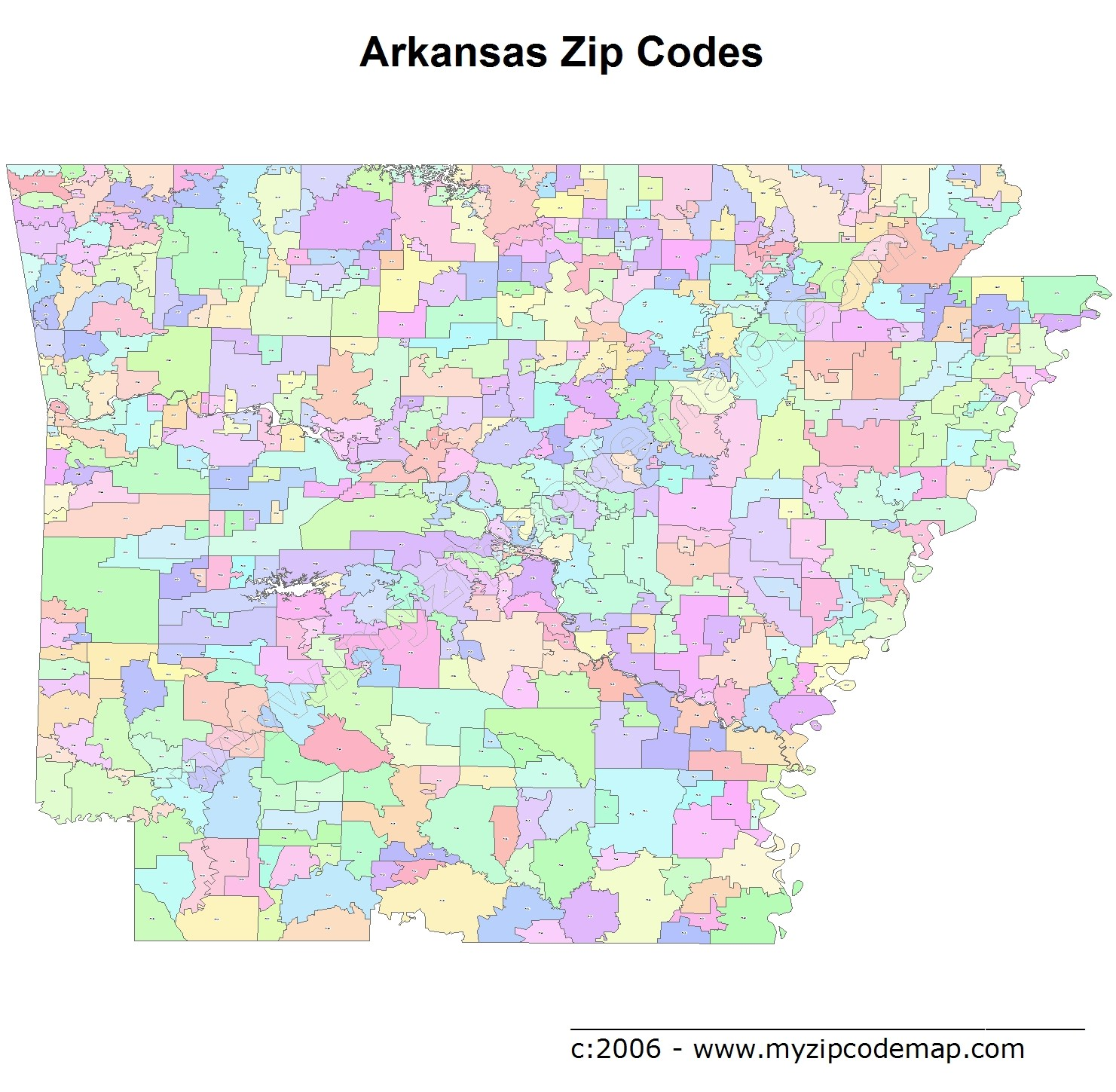 Arkansas (AR) Zip Code Map
