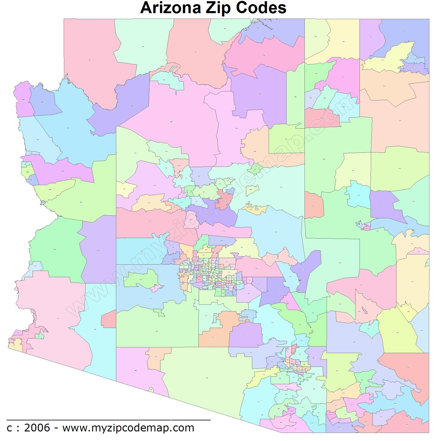 Arizona (AZ) Zip Code Map