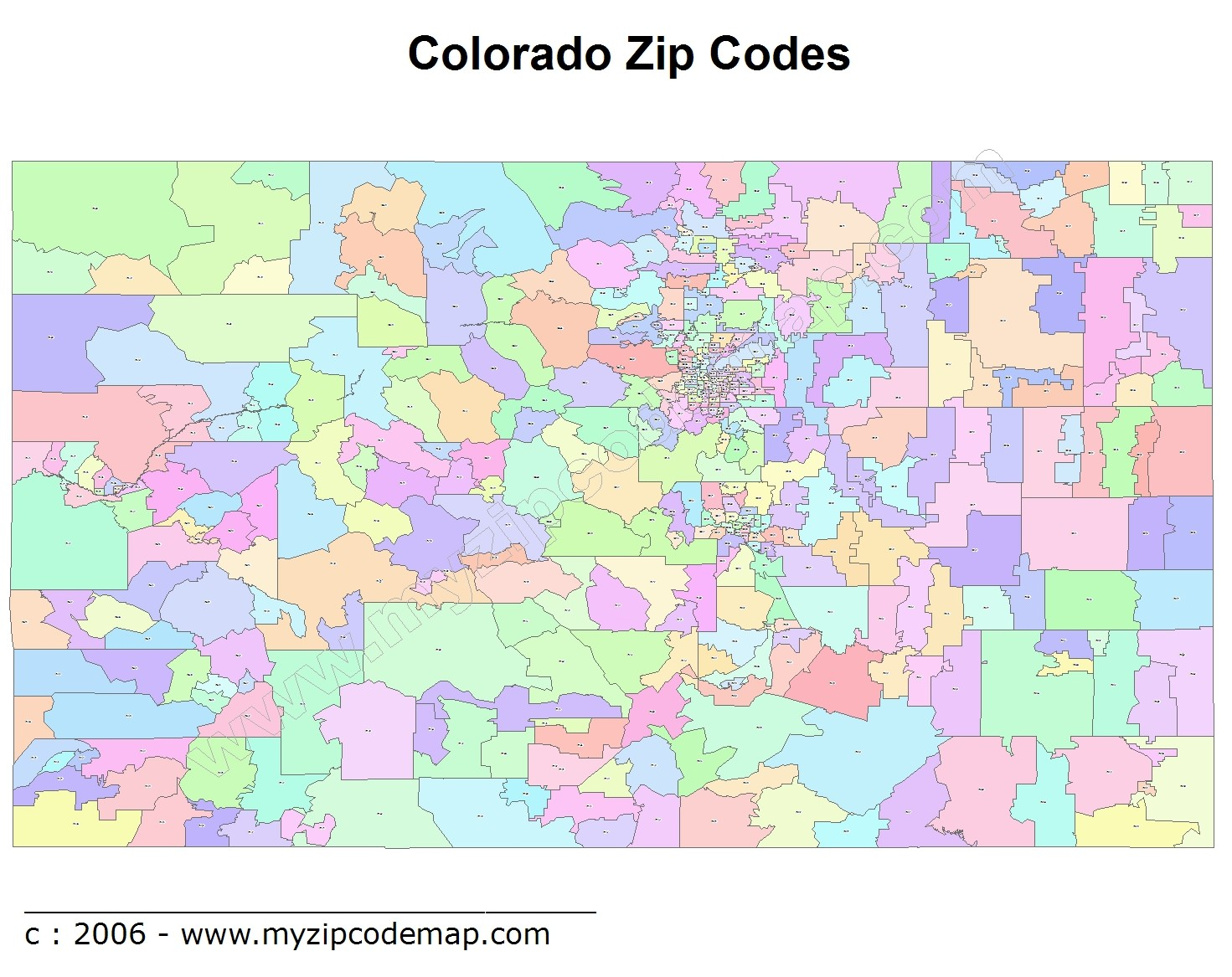 Colorado (CO) Zip Code Map