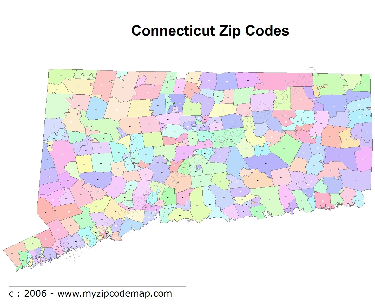 Connecticut (CT) Zip Code Map