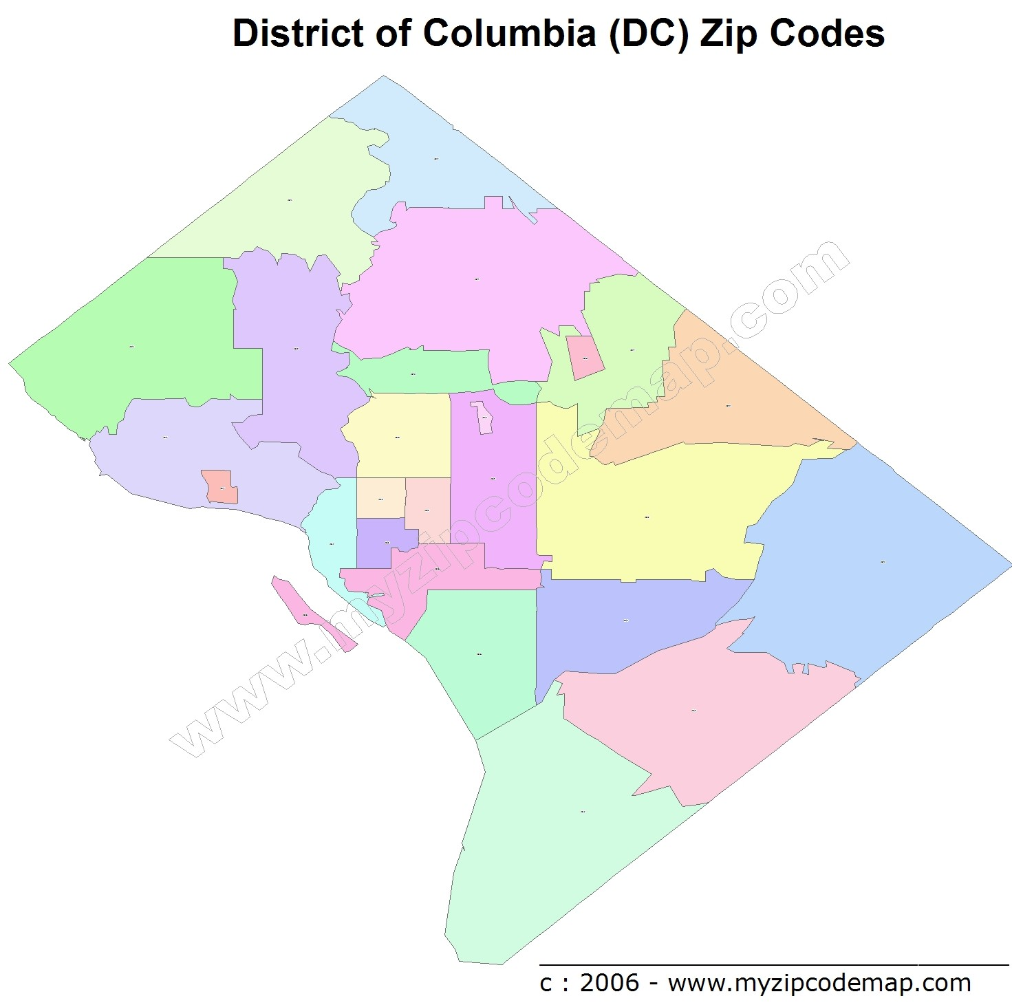 District of Columbia (DC) Zip Code Map