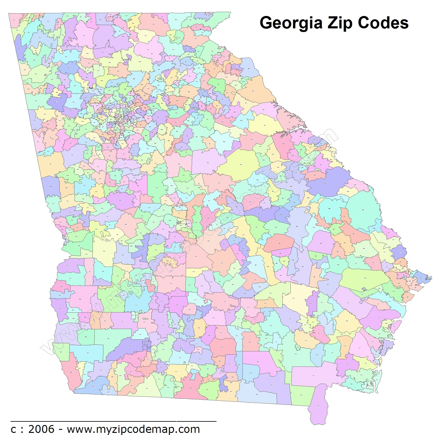 Georgia (GA) Zip Code Map