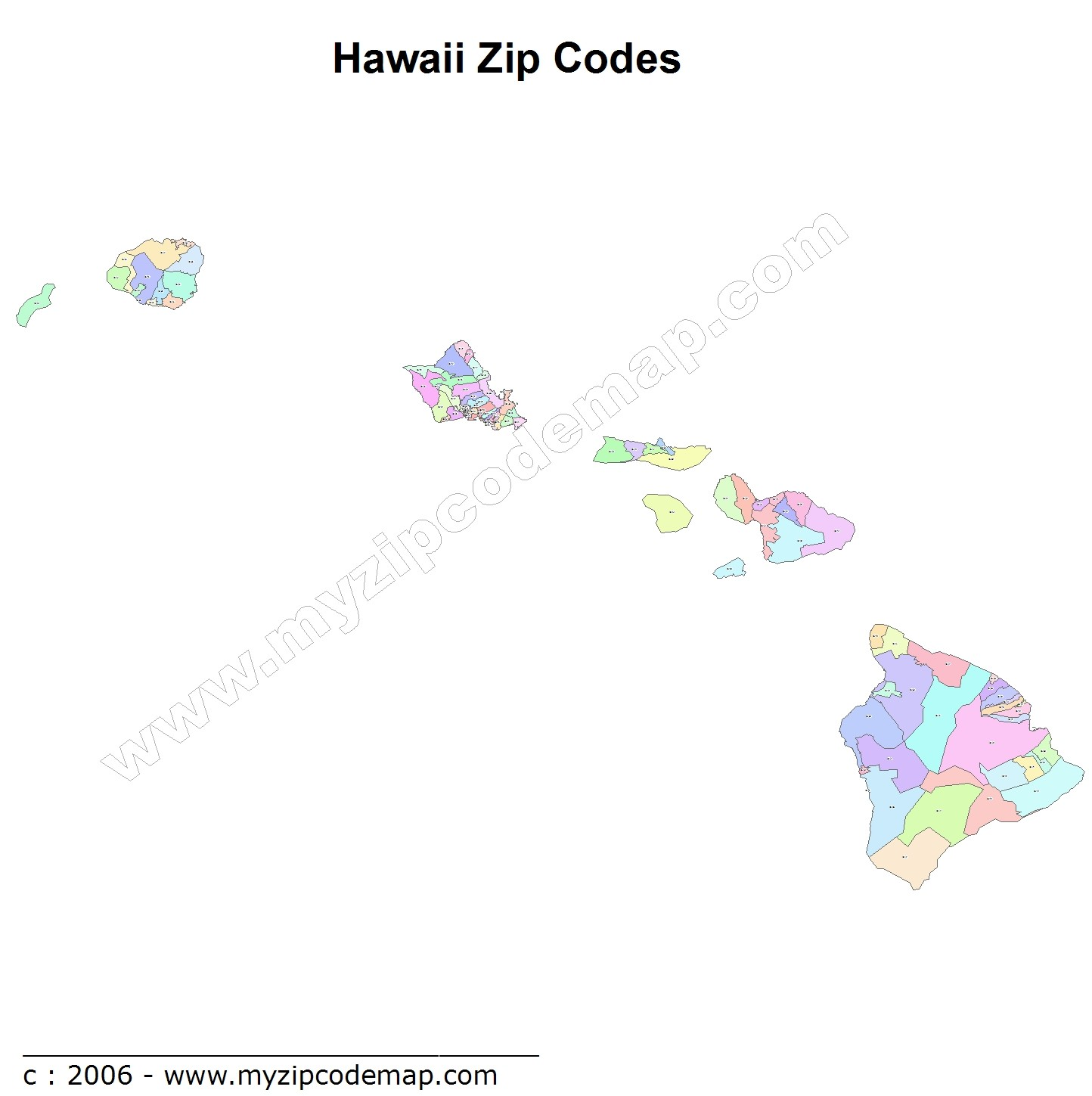 Hawaii (HI) Zip Code Map