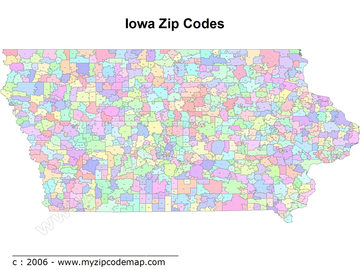 Iowa (IA) Zip Code Map