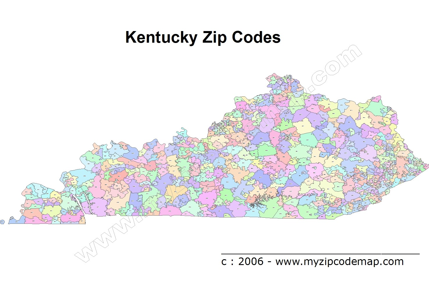 Kentucky (KY) Zip Code Map
