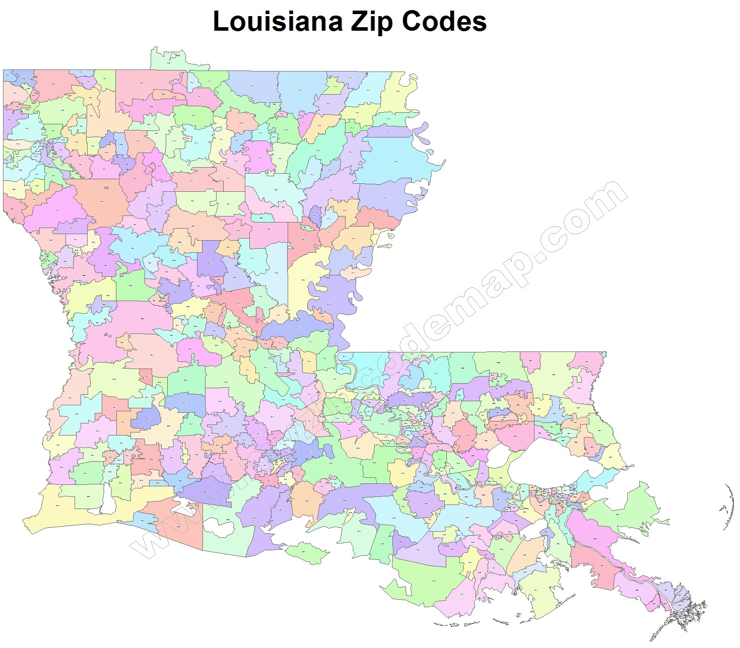 Louisiana Zip Code Maps - Free Louisiana Zip Code Maps