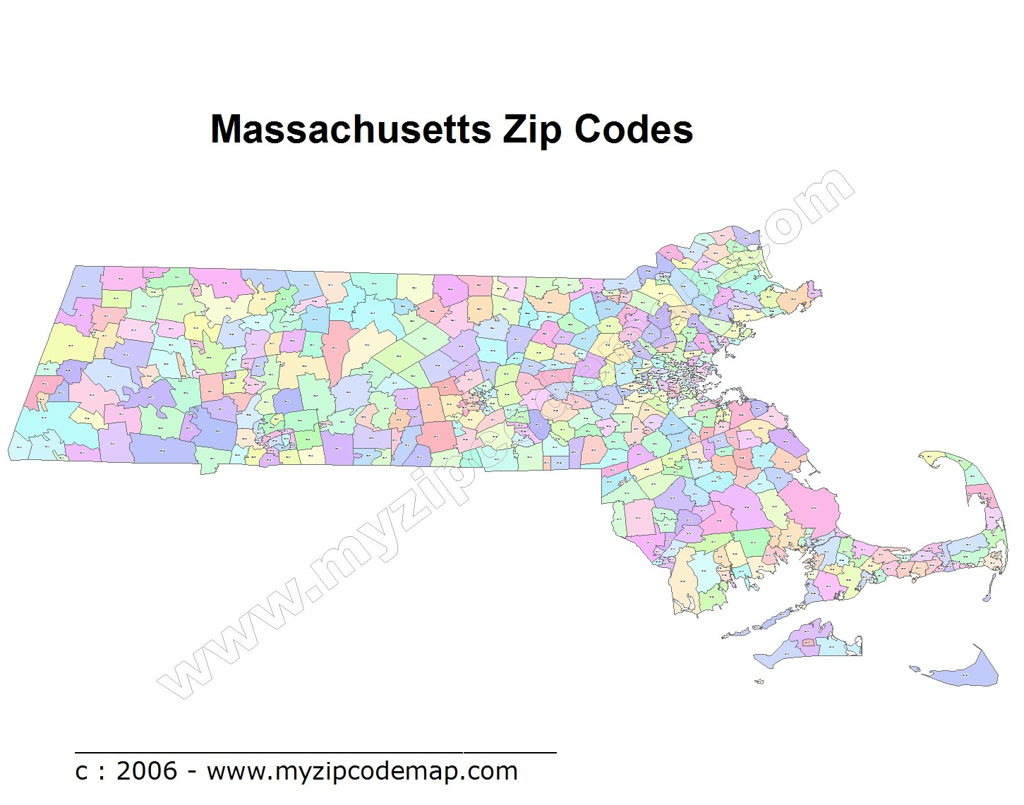 Massachusetts (MA) Zip Code Map