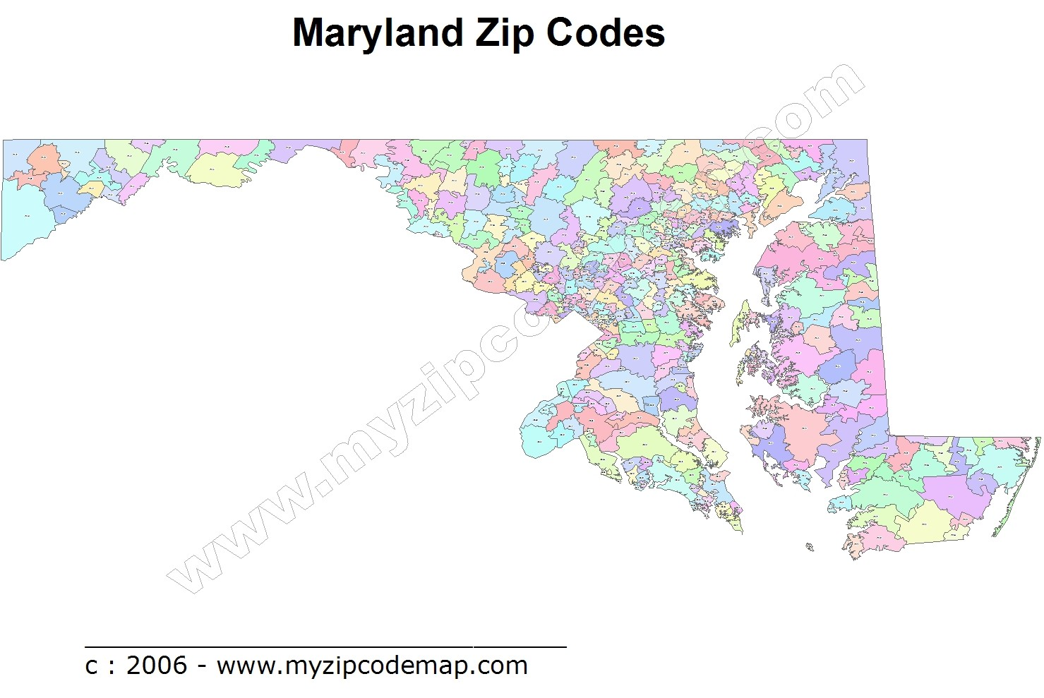 Maryland (MD) Zip Code Map