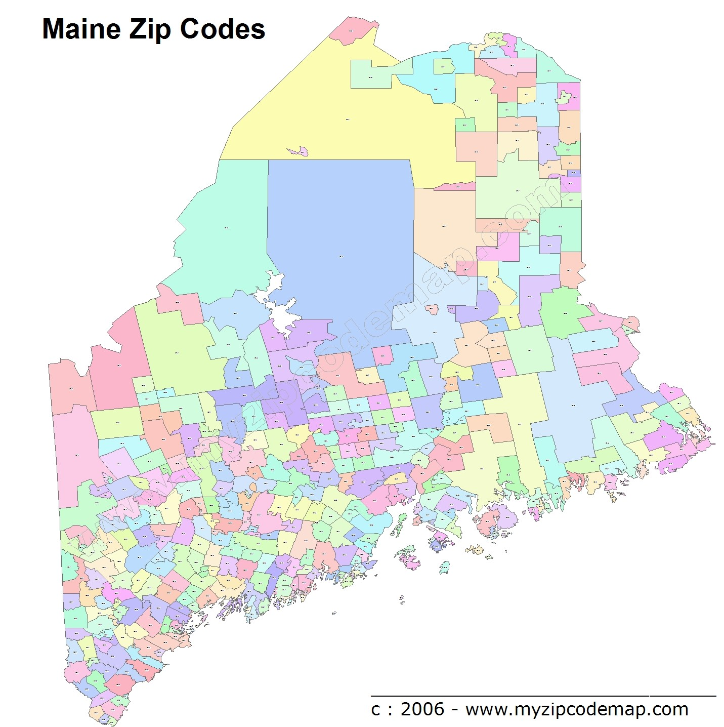 Maine (ME) Zip Code Map