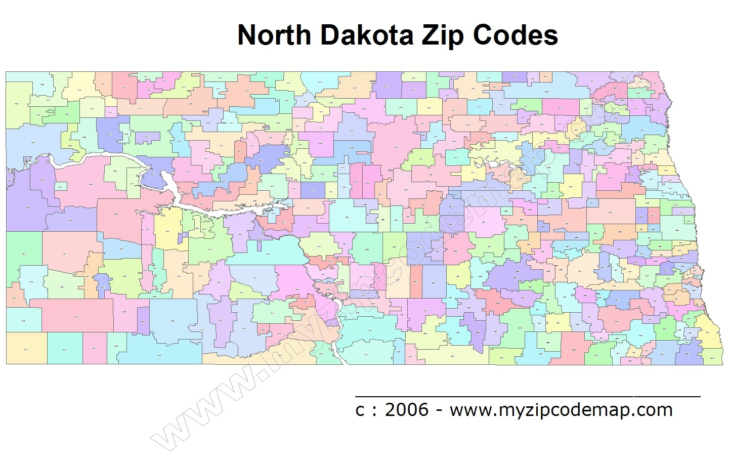 North Dakota (ND) Zip Code Map