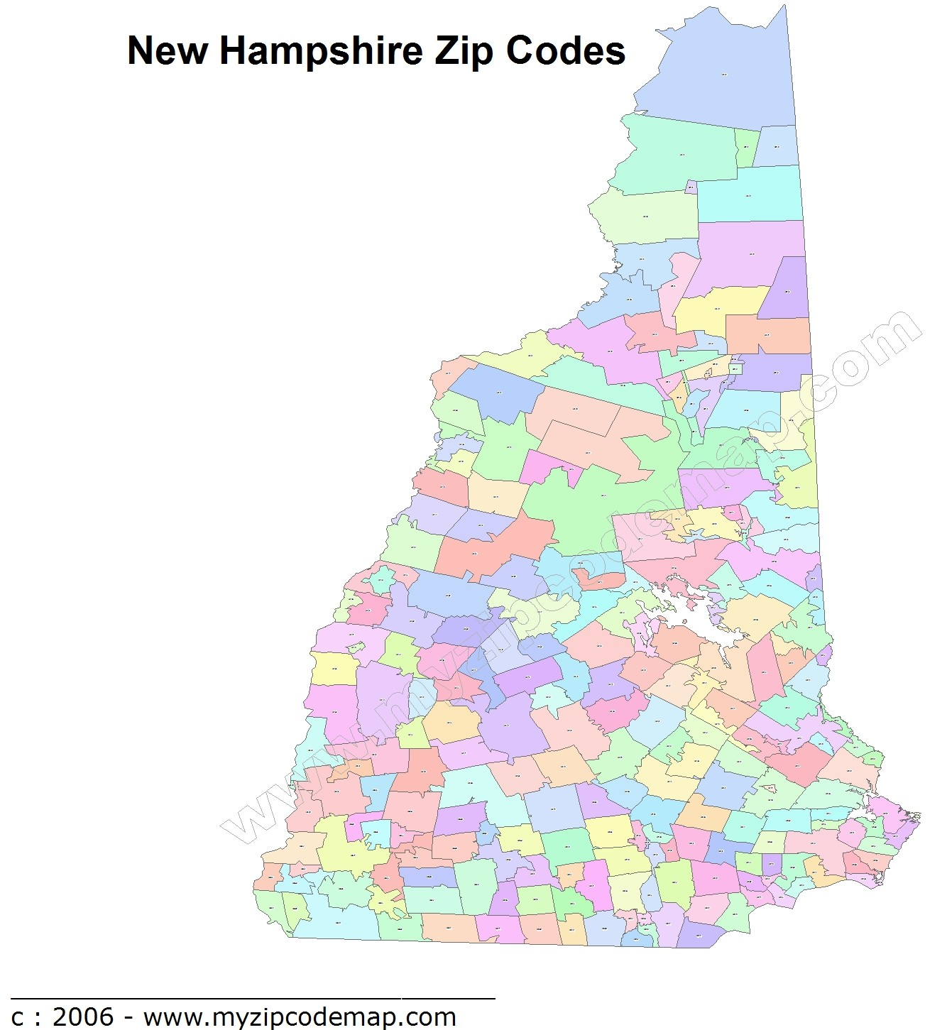 New Hampshire (NH) Zip Code Map