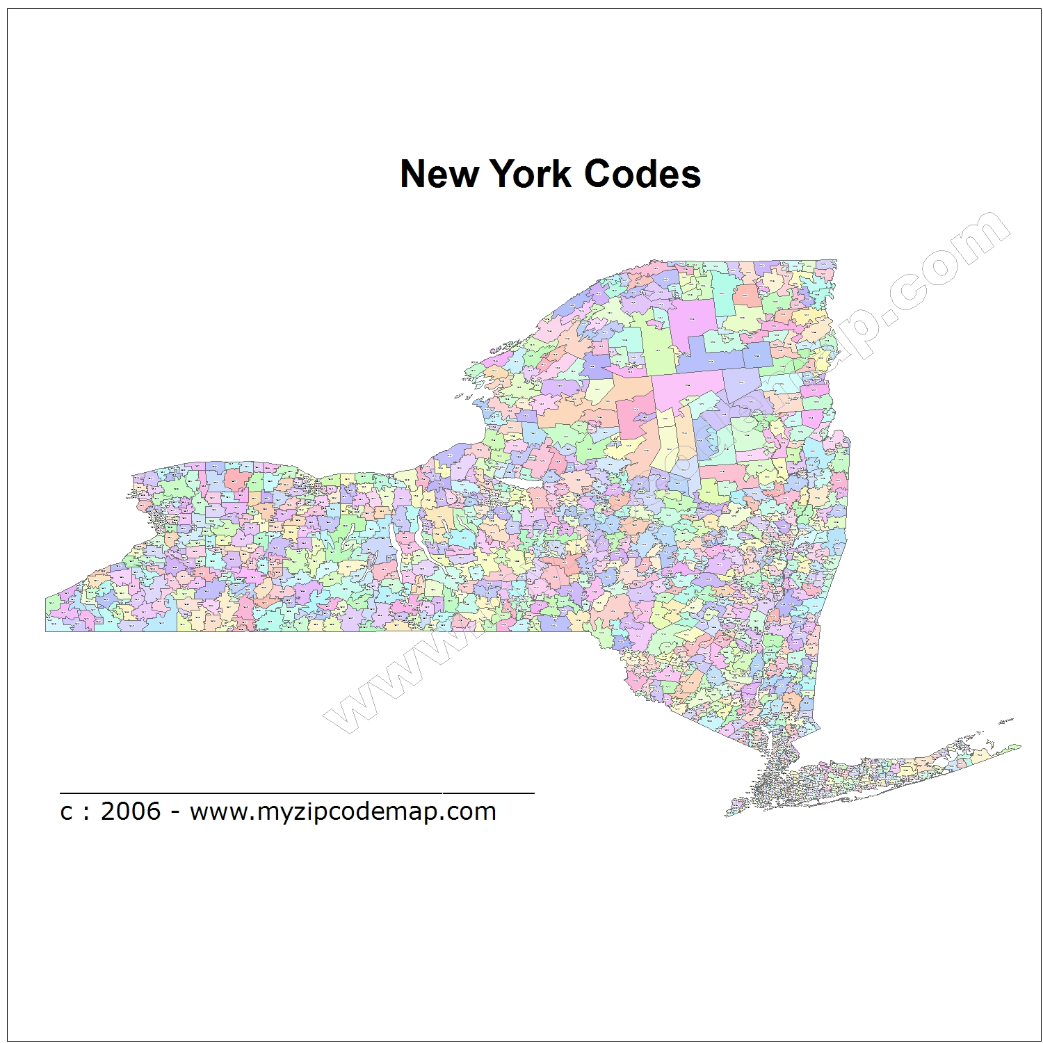 New York (NY) Zip Code Map