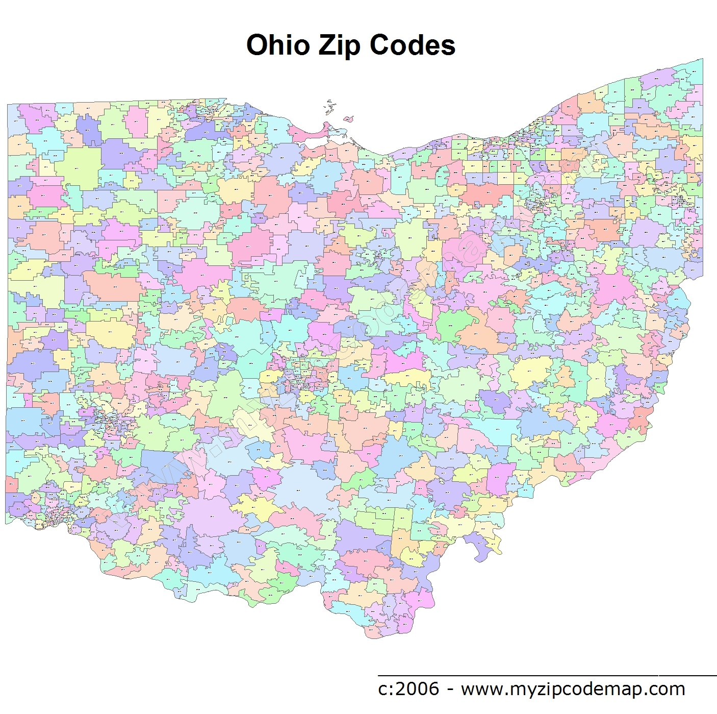 Ohio (OH) Zip Code Map