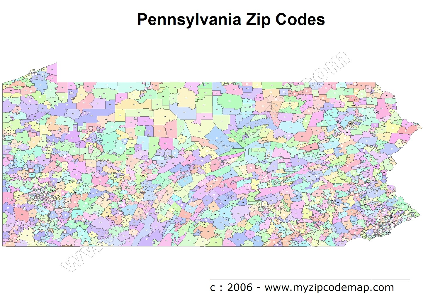Pennsylvania (PA) Zip Code Map