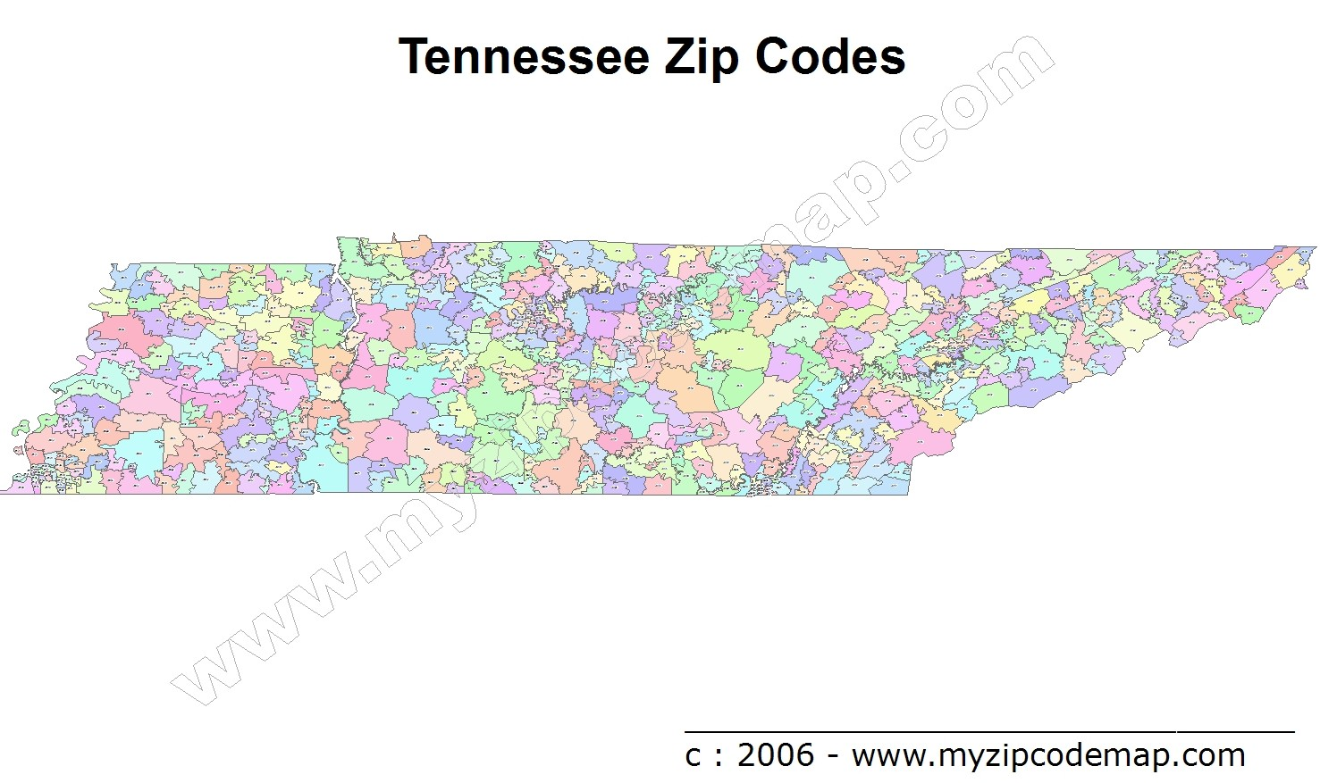 Tennessee (TN) Zip Code Map