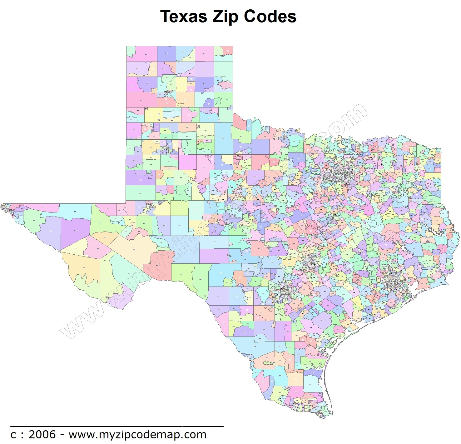 Texas Zip Code Maps - Free Texas Zip Code Maps