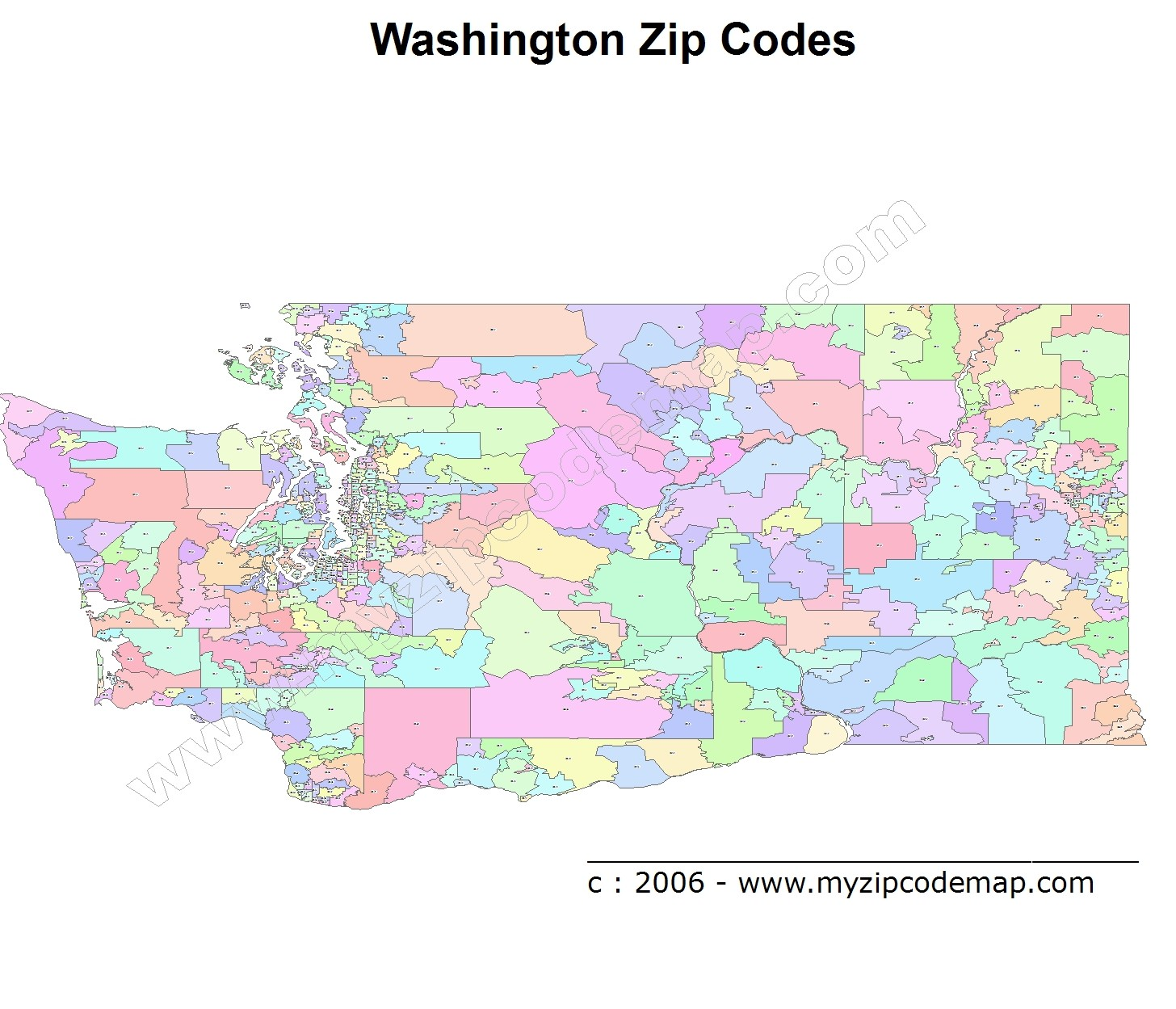 Washington (WA) Zip Code Map