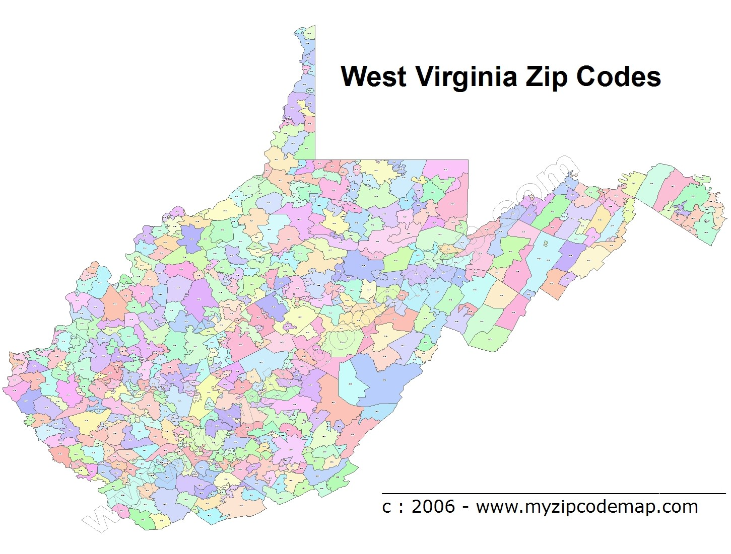 West Virginia (WV) Zip Code Map